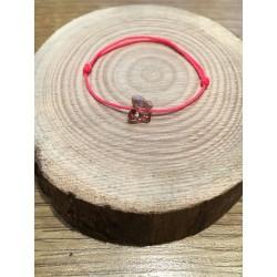 Bracelet Enfant Papillon Cristal Swarovski rose / cordon rose fluo