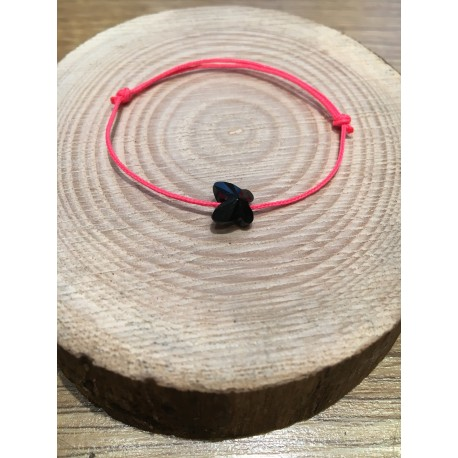 Bracelet Enfant Papillon Cristal Swarovski noir  / cordon rose fluo