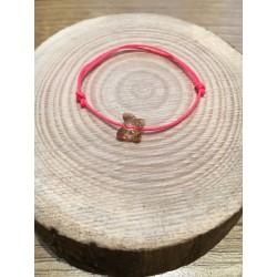 Bracelet Enfant Papillon Cristal Swarovski ocre  / cordon rose fluo