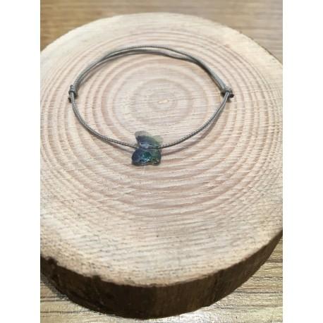 Bracelet Enfant Papillon Cristal Swarovski bleu  / cordon gris