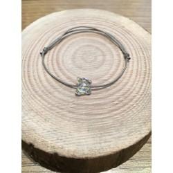 Bracelet Enfant Papillon Cristal Swarovski transparent   / cordon gris