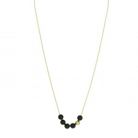 Collier collection STONE ras de cou plaqué or perles onyx noir