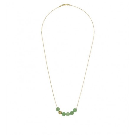 Collier collection STONE ras de cou plaqué or perles Aventurine verte