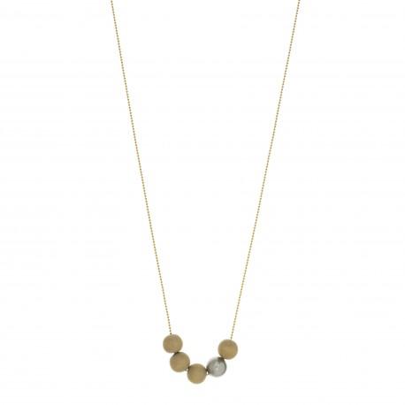 Sautoir BOUDDHISTE CHIC chaine plaqué or perles bois et cristal grise
