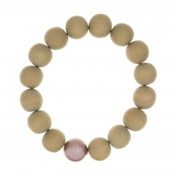 Bracelet BOUDDHISTE CHIC perles bois et cristal rose