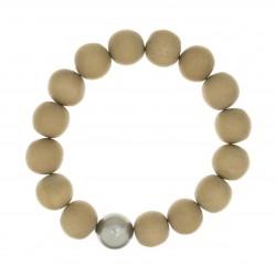 Bracelet BOUDDHISTE CHIC perles bois et cristal grise