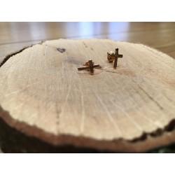 Boucles d'oreilles puces croix plaqué or