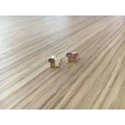 Boucles d'oreilles puces Papillons argent dorées or fin