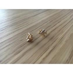 Boucles d'oreilles puces Colombes argent dorées or fin