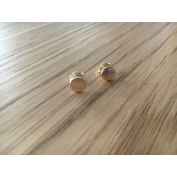 Boucles d'oreilles puces Pastilles argent dorées or fin