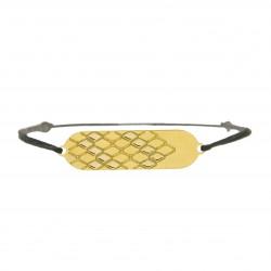 Bracelet signature p.or Jaune cordon noir