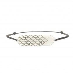 Bracelet signature p.argent cordon gris souris