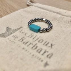 Bague Hématites argentées perle turquoise