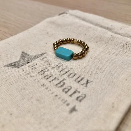 Bague Hématites dorées perle turquoise