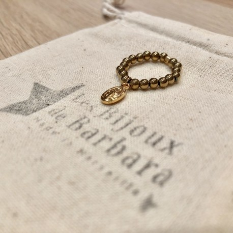 Bague Hématites dorées pendentif vierge