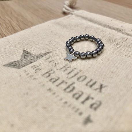 Bague Hématites argentées pendentif étoile