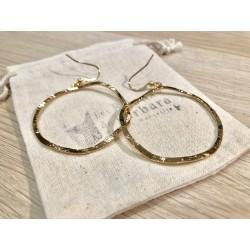 Boucles d'oreilles cercles martelés  plaqué or