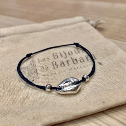 Bracelet Kiaora cauri plaqué argent cordon marine