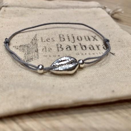 Bracelet Kiaora cauri plaqué argent cordon gris