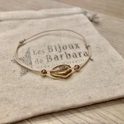 Bracelet Kiaora cauri plaqué or cordon crème