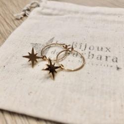 Mini créoles étoile du nord plaqué or