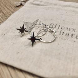 Mini créoles étoile du nord plaqué argent