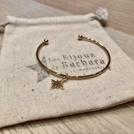 Bracelet Jonc  mini boules étoile du nord plaqué or