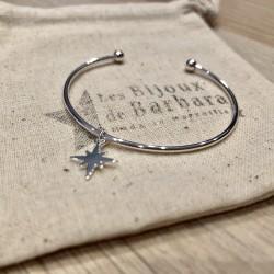 Bracelet Jonc  mini boules étoile du nord plaqué argent