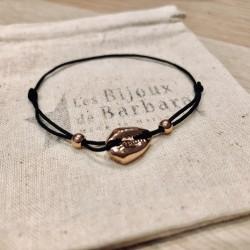 Bracelet Kiaora cauri plaqué or rose cordon noir
