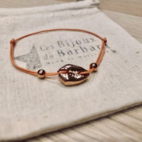 Bracelet Kiaora cauri plaqué or rose cordon abricot