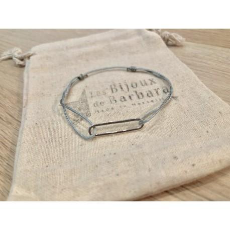 Bracelet cordon collection 70's plaqué argent / gris soucis