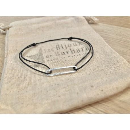 Bracelet cordon collection 70's plaqué argent / gris anthracite