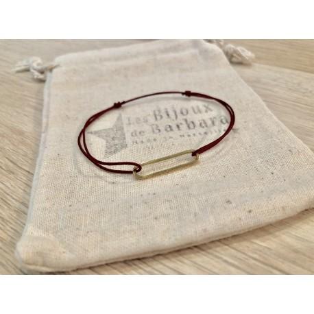 Bracelet cordon collection 70's plaqué or / rouge bordeaux