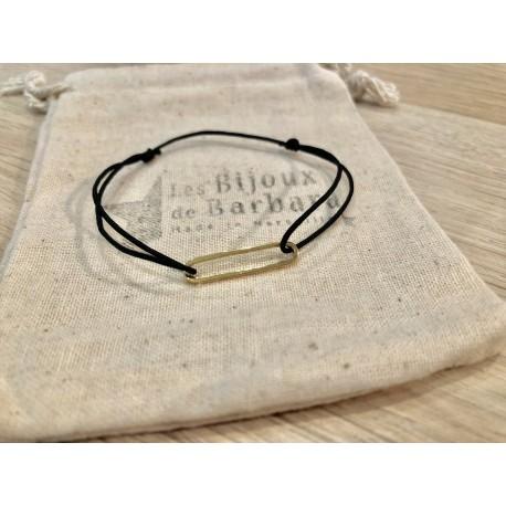 Bracelet cordon collection 70's plaqué or / noir