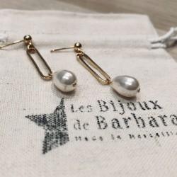 Boucles d'oreilles maillon gourmette PERLA Blanc / OR