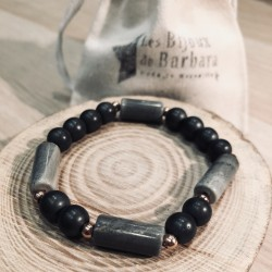 Bracelets GEMMA (Jaspe / hématites grises)