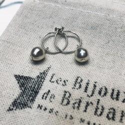 Boucles d'oreilles mini créoles PERLA plaqué argent