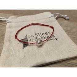 Bracelet cordon PERLA rouge corail