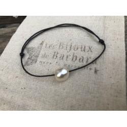 Bracelet cordon PERLA gris anthracite