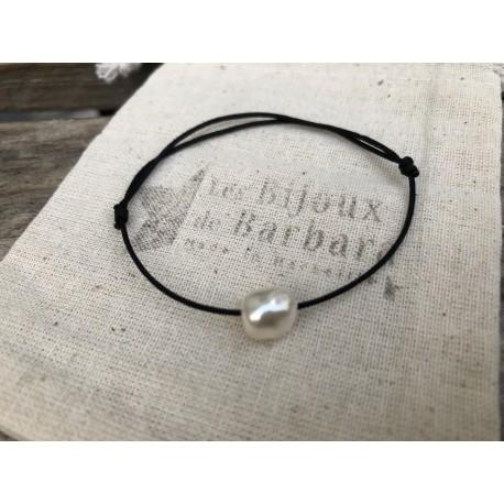 Bracelet cordon PERLA noir