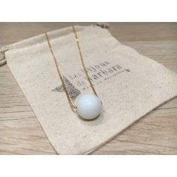 Collier mi long Perle céramique
