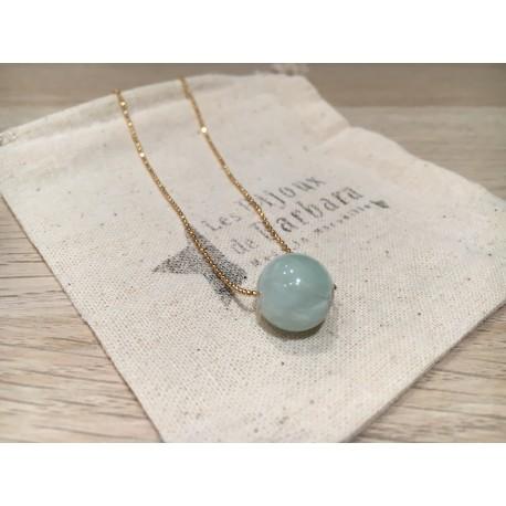 Collier mi long Perle jade