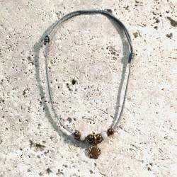 Bracelet cordon CALANQUES Coquilles Saint Jaquesr perles rose poudré