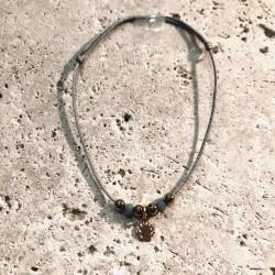 Bracelet cordon CALANQUES Coquilles Saint Jaquesr perles bleu lagon