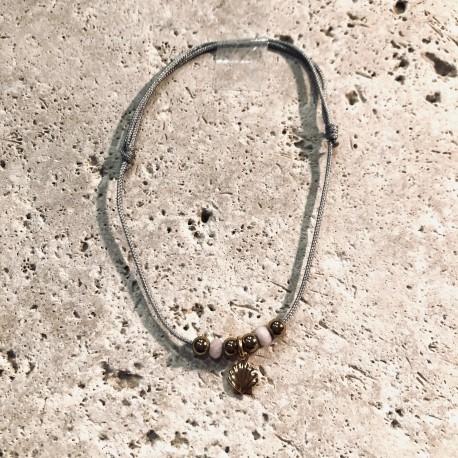 Bracelet cordon CALANQUES Coquilles Saint Jaquesr perles rose