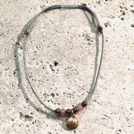 Bracelet cordon CALANQUES Oursin  perles rose bonbon