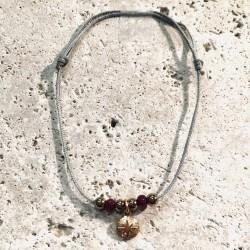 Bracelet cordon CALANQUES Oursin perles rouge grenat