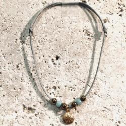 Bracelet cordon CALANQUES Oursin perles bleu ciel