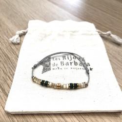 Bracelet cordon Vitamine Nacre et Agate mousse verte