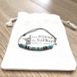 Bracelet cordon Vitamine Magnésite turquoise  et Agate mousse verte